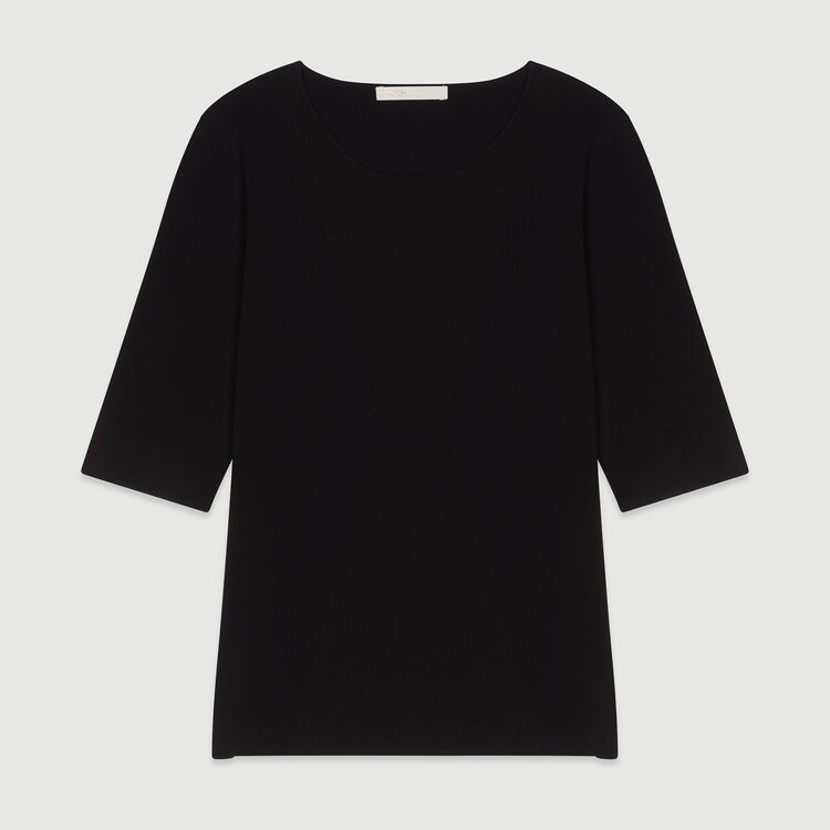 Short sleeved knit sweater : Knitwear color Black