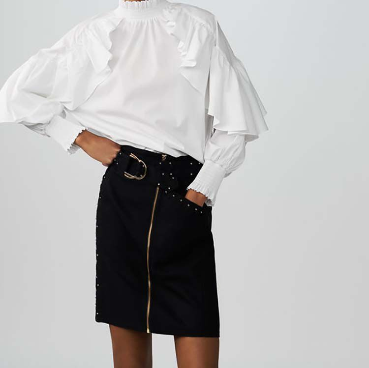 Short skirt with studs and embroidery : Skirts & Shorts color NIGHT BLUE