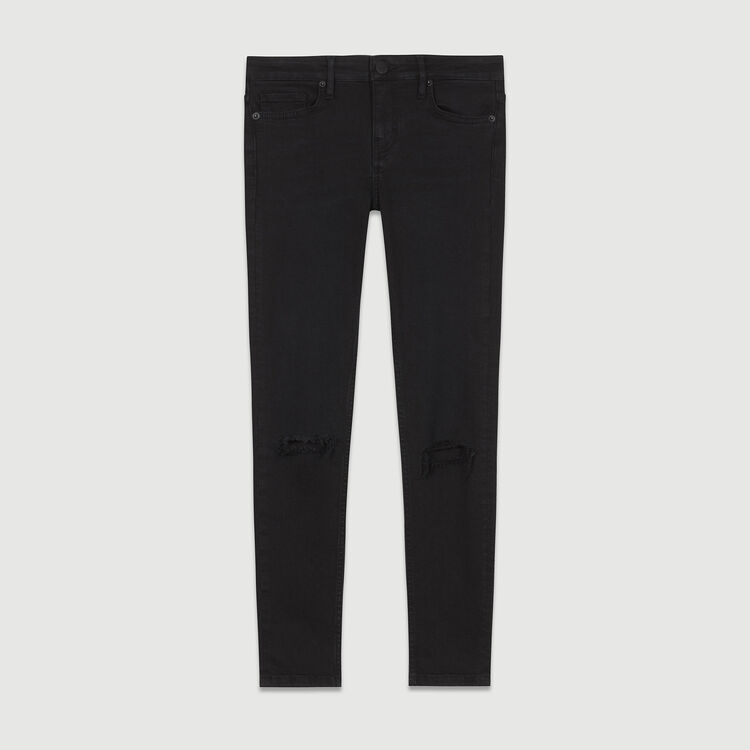 7/8 embroidered skinny jeans : Jeans color Black 210