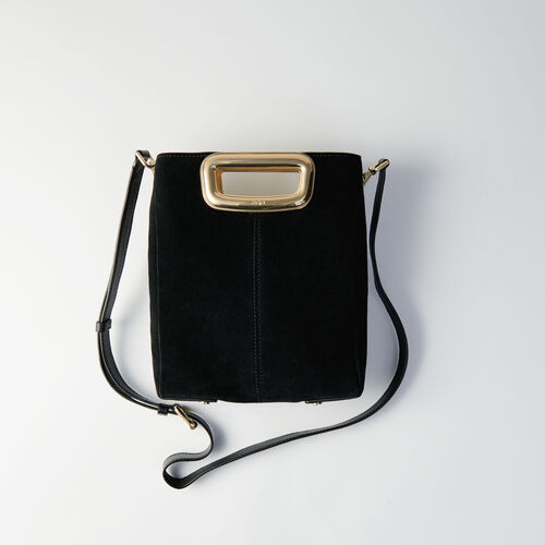 Suede and goldtone metal M Skin bag : M Skin color Black