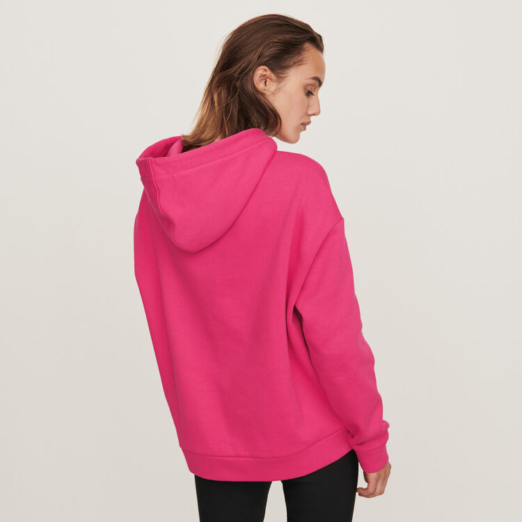 Embroidered hooded sweatshirt : Knitwear color Fuchsia
