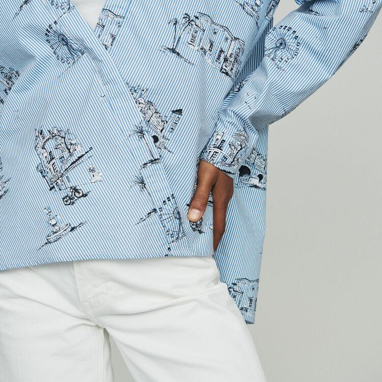 Striped shirt with Paris print : Tops & Shirts color Blue