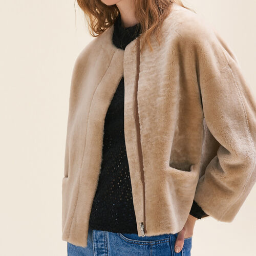 Reversible sheepskin jacket : null color Beige