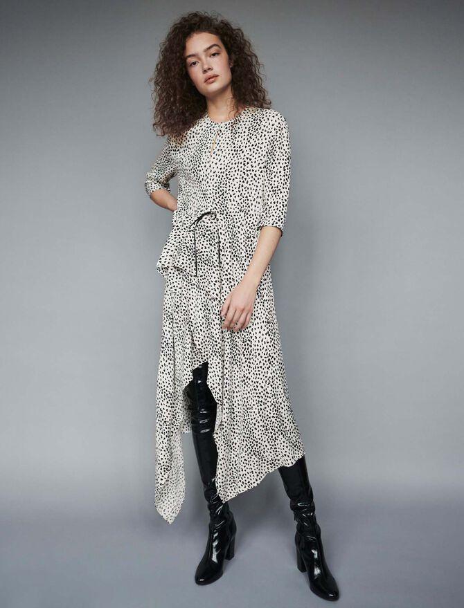 Jacquard-printed asymmetrical dress - Dresses - MAJE