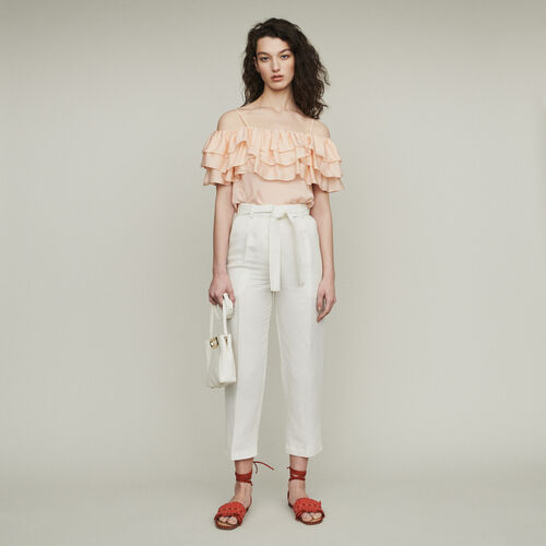Pleated pants : Trousers color Blue Sky