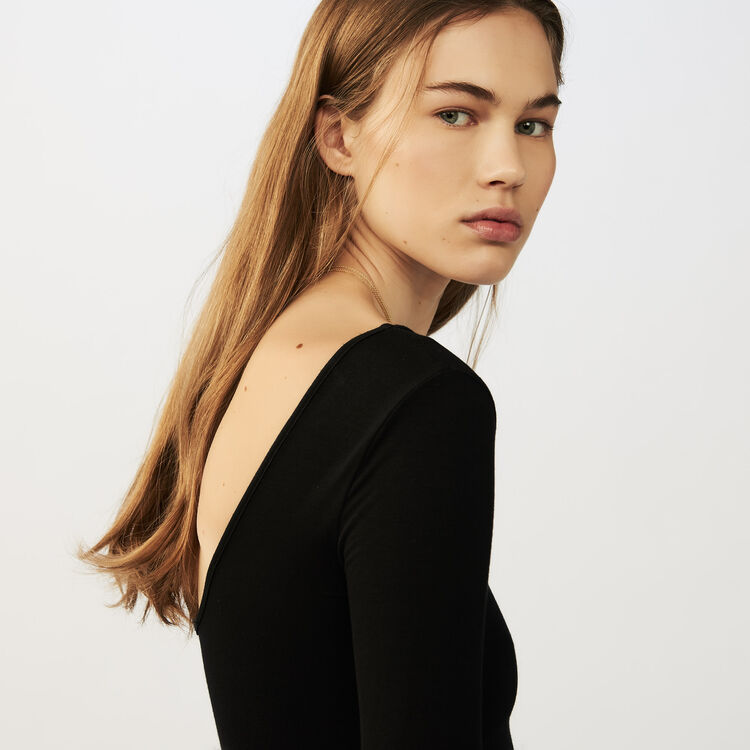 Long-sleeved bodysuit in jersey : Knitwear color Black 210