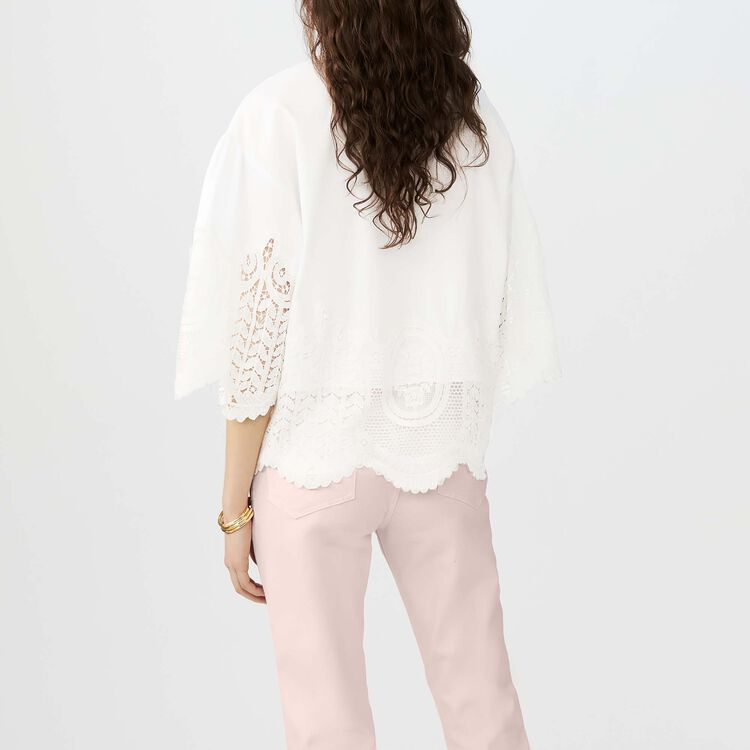 Cotton top with lace detailing : Tops color ECRU