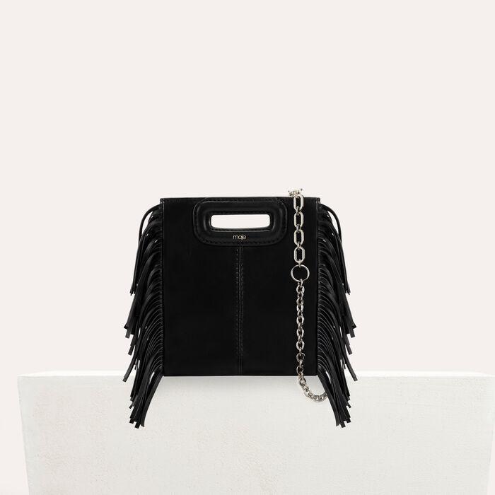 M mini-bag with leather fringes : M Mini color Black 210