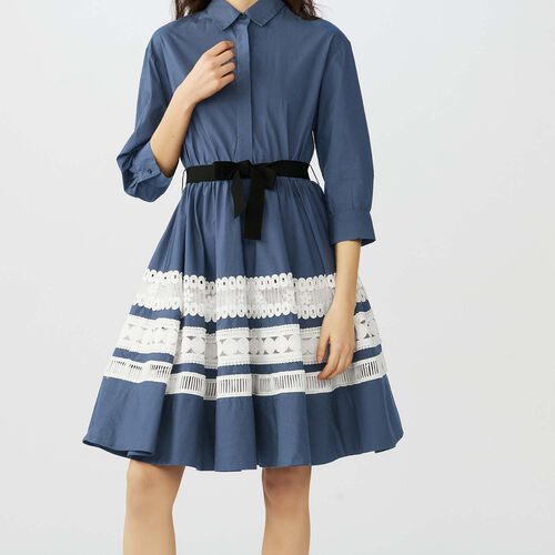 Bicolored embroidered shirt dress : Dresses color Navy