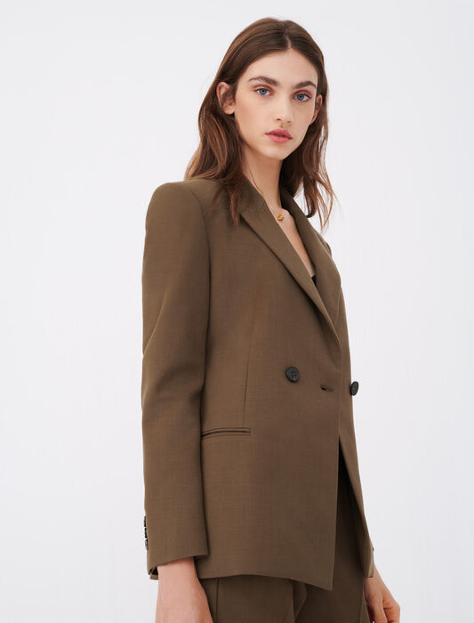 Fitted suit jacket : Blazers color Brown