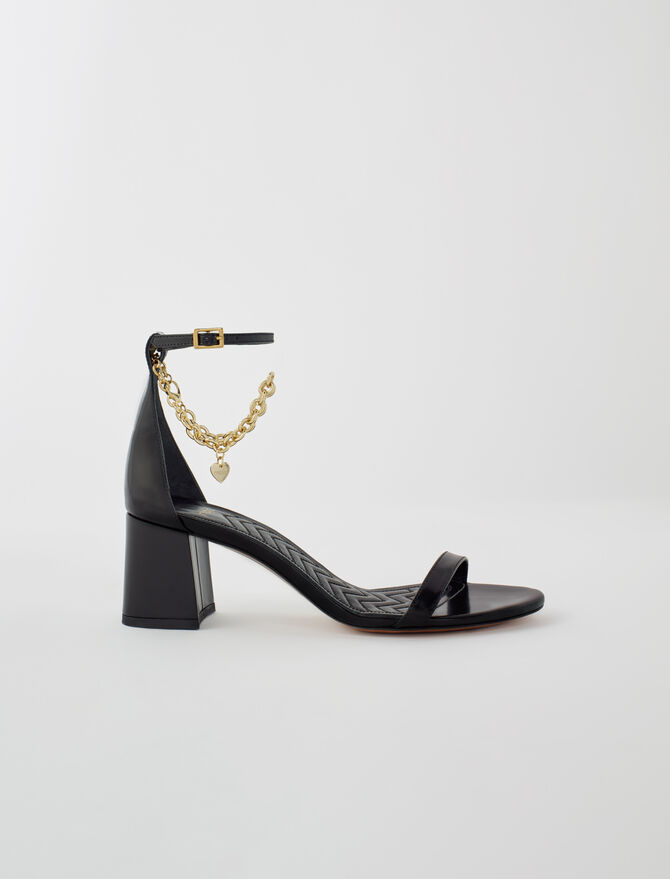 Medium heel sandals with gold-tone chain - New collection - MAJE