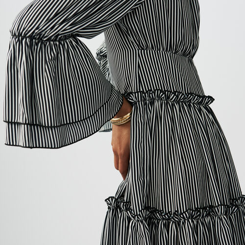 Striped cold-shoulder dress : Dresses color Stripe