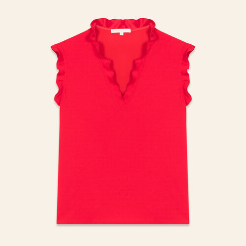Frilled sleeveless top : Tops color ROUGE