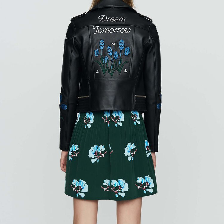 Embroidered leather jacket : Jackets color BLACK