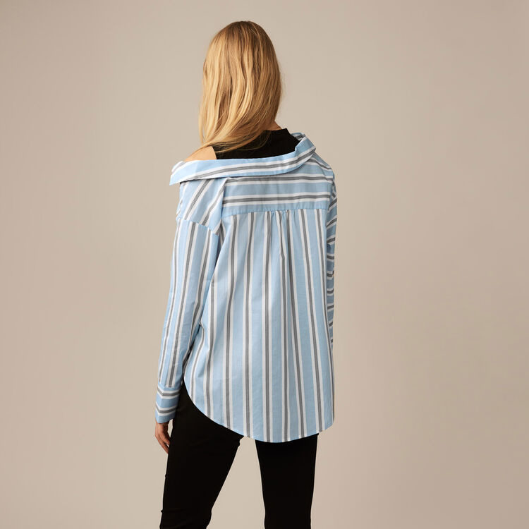 Deconstructed shirt in striped poplin : Shirts color Blue Sky