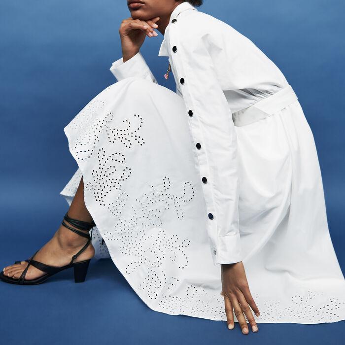Long belted dress : Dresses color White