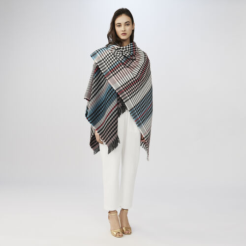 Multi-coloured houndstooth poncho : Shawls & Ponchos color Multico