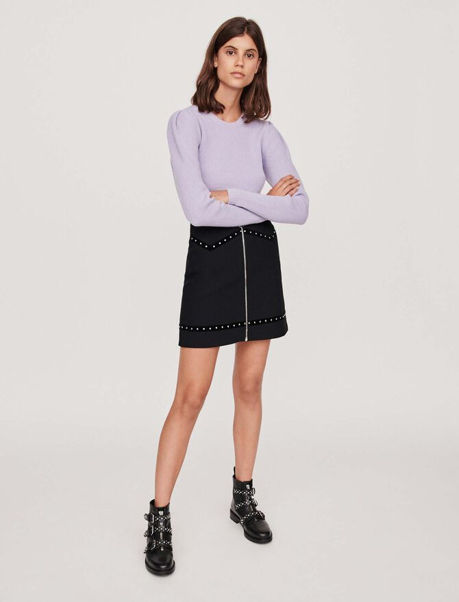 Studded pencil skirt with velvet trim - SoldesFR_30 - MAJE