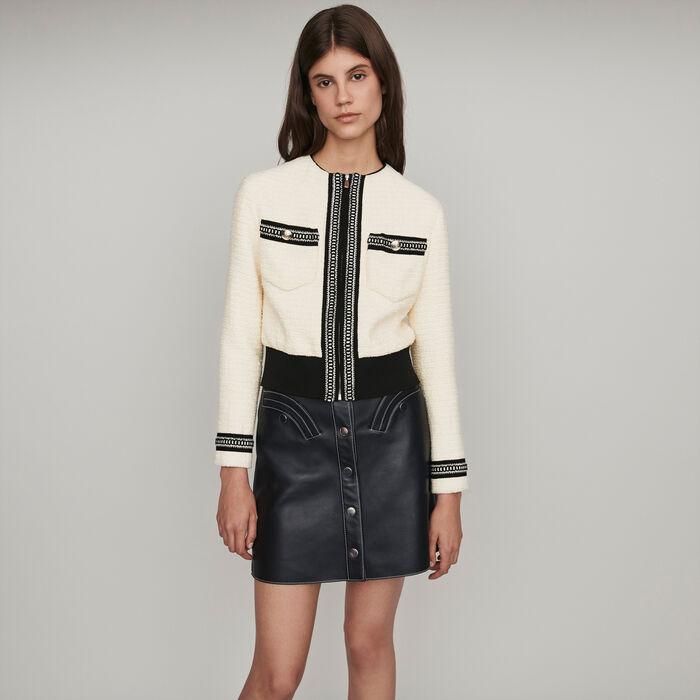 Zipped tweed-style contrast jacket : Coats & Jackets color Ecru