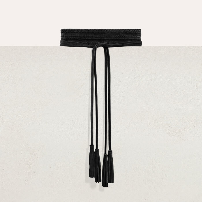 High-waisted suede belt : Belts color Black 210