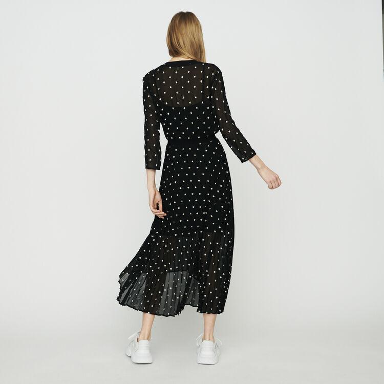 ede70d7a2 RIVOLIO Long pleated dress with daisy print - Dresses - Maje.com
