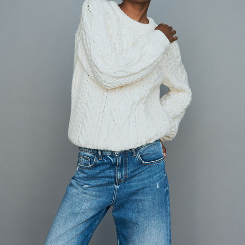 Braided knit sweater : Urban color ECRU