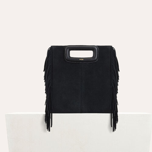 M bag with suede fringes : Leather color Black 210