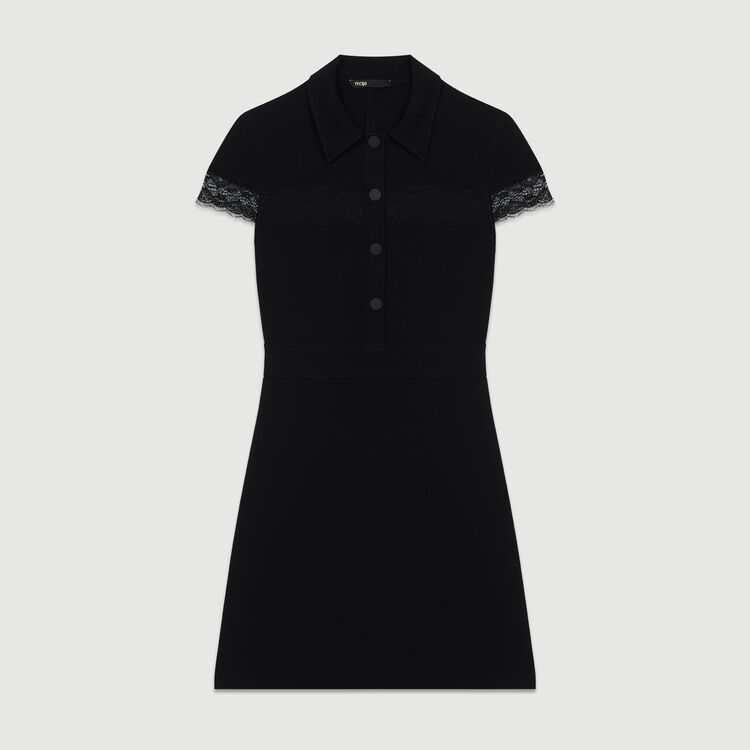 Crepe shirt dress : Ready to wear color Black 210