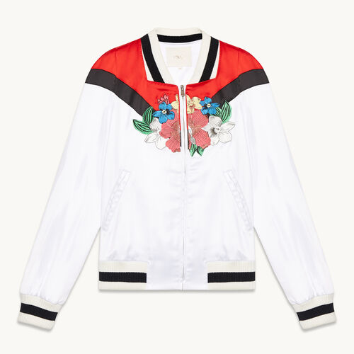 Embroidered satin varsity jacket - null - MAJE