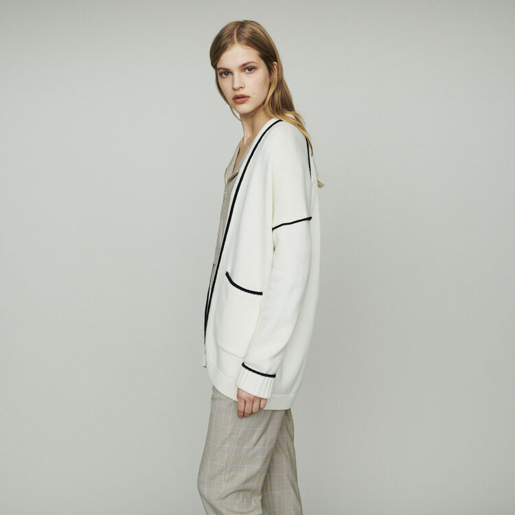 Mid-length cardigan with edges : Knitwear color Ecru