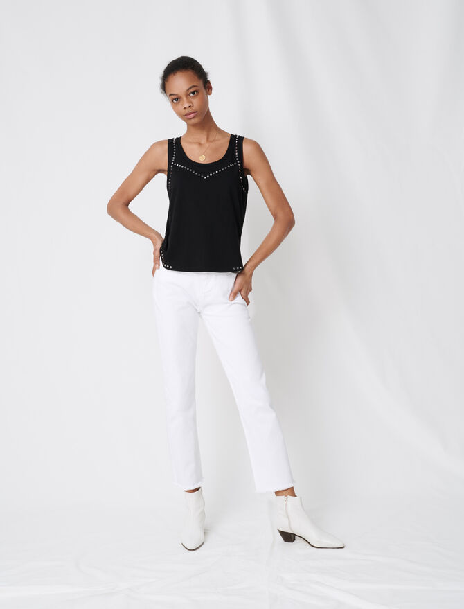 Studded black tank top - T-Shirts - MAJE