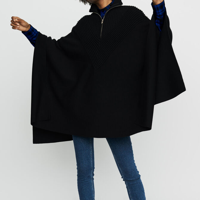 Knit poncho with trucker collar - See all - MAJE