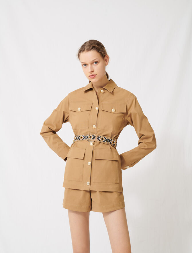 Camel coat with embroidered belt - Blazers - MAJE