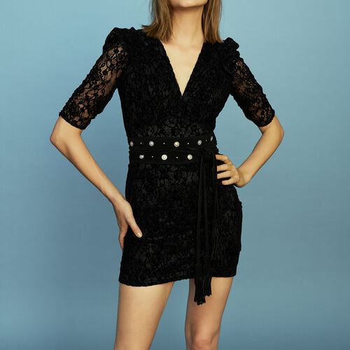Lace dress with velvet : Ready to wear color Black 210