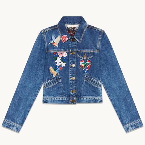 Embroidered denim jacket - null - MAJE