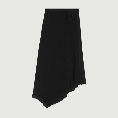 Long asymmetric skirt : Skirts & Shorts color Black 210