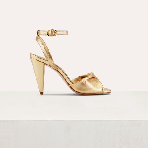 Leather high heals sandals : Shoes color Gold