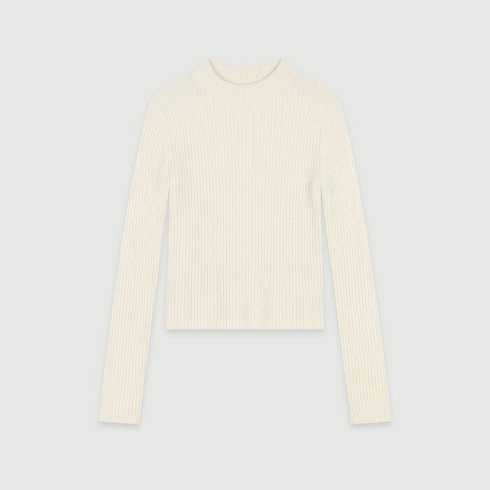 Ribbed turtleneck sweater : Knitwear color Ecru