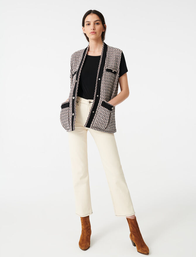 Sleeveless lurex tweed-style jacket - Blazers - MAJE