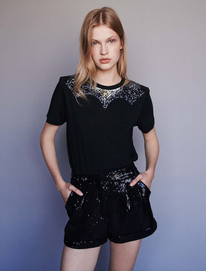 Jersey t-shirt with sequins - T-Shirts - MAJE