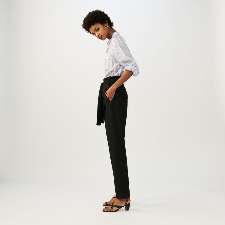 Low-slung belted pants : Trousers color Black 210