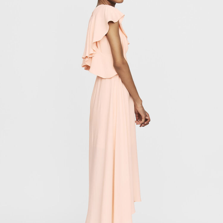 Long sleeveless asymmetric crepe dress : Ready to wear color PECHE