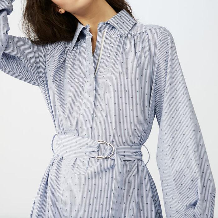 Long blouse-dress with buckle belt : Dresses color Blue