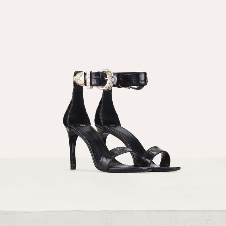 Crocodile heeled sandals : New collection color Black 210