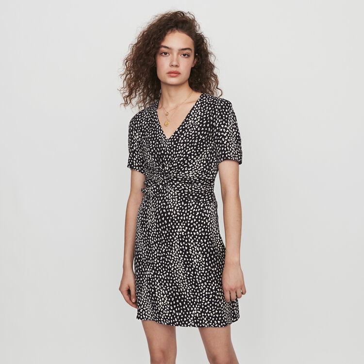 Gathered dress in printed jacquard : Dresses color Black