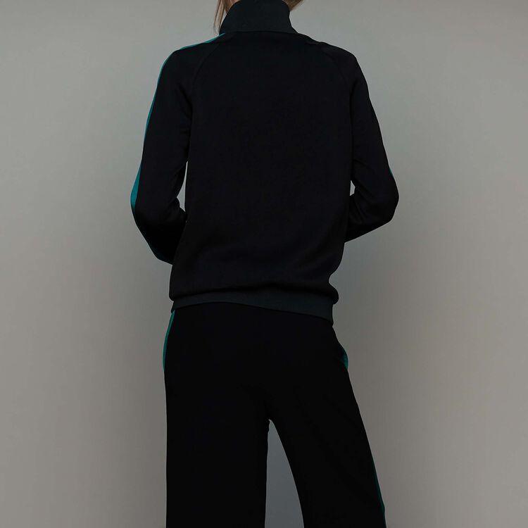 Bicolor athletic jacket : New Collection color Black 210