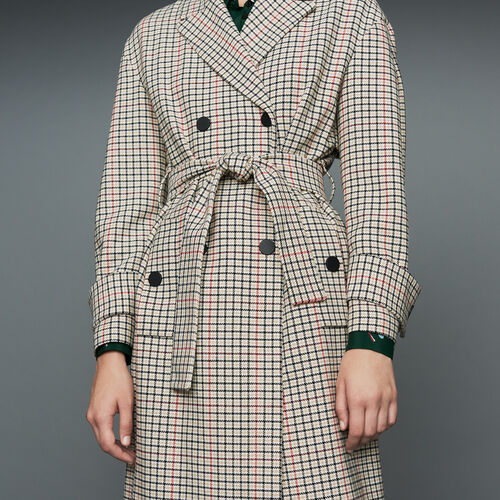Straight plaid coat : Coats color CARREAUX
