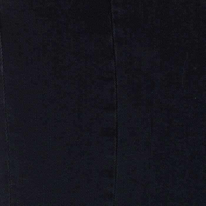 Asymmetric jeans with fringe : Jeans color