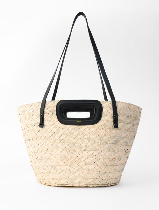 Basket bag in palm and leather : New collection color Black
