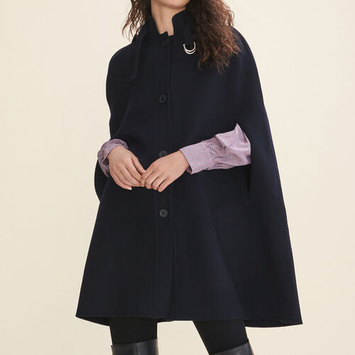 Double-sided wool cape : Coats color Navy